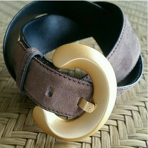 Escada Vintage Brown Suede Belt Gold Buckle